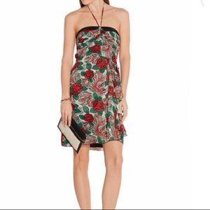 ANNA SUI Floral Silk Halter dress
